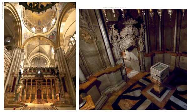 Esquerda: o Katholikon. Direita: um fragmento da rocha usada para fechar o túmulo de Jesus.