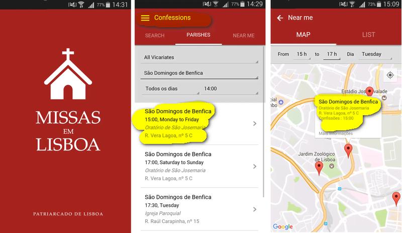 A app Missas em Lisboa tem versão em português e em inglês