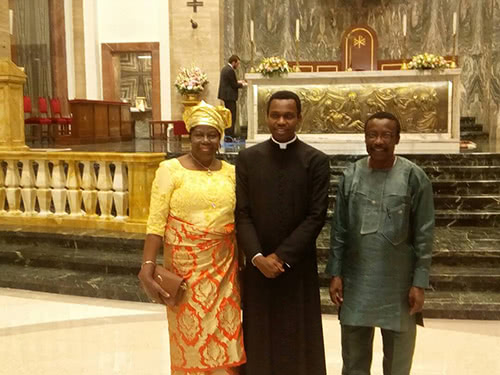Fr. Pedro with his parents, after his ordination