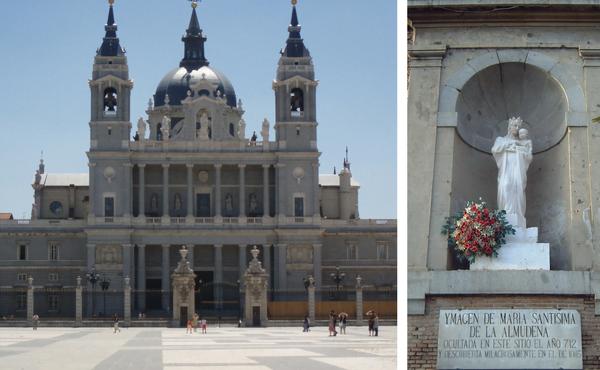 Catedral da Almudena (esquerda) e imagem de Nossa Senhora no muro externo, mostrando o lugar onde foi encontrada