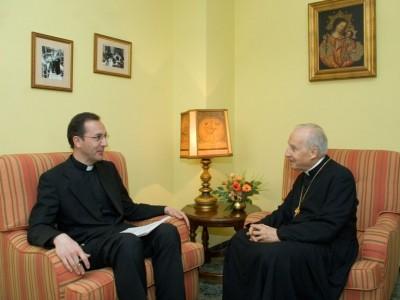 Mons. Javier Echevarría, Prelato dell'Opus Dei, durante l' intervista concessa alla rivista 'Palabra'