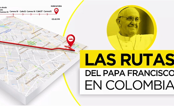 Opus Dei - Recorrido y agenda del Papa en su visita a Colombia