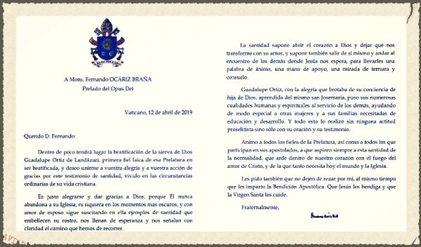 List Papieża Franciszka z okazji beatyfikacji Guadalupe