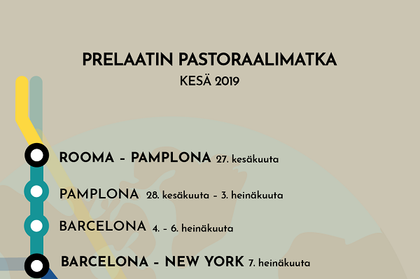Infografiikka prelaatin pastoraalimatkasta