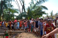 Residents of San Dionisio line up for relief goods from the Westbridge team.