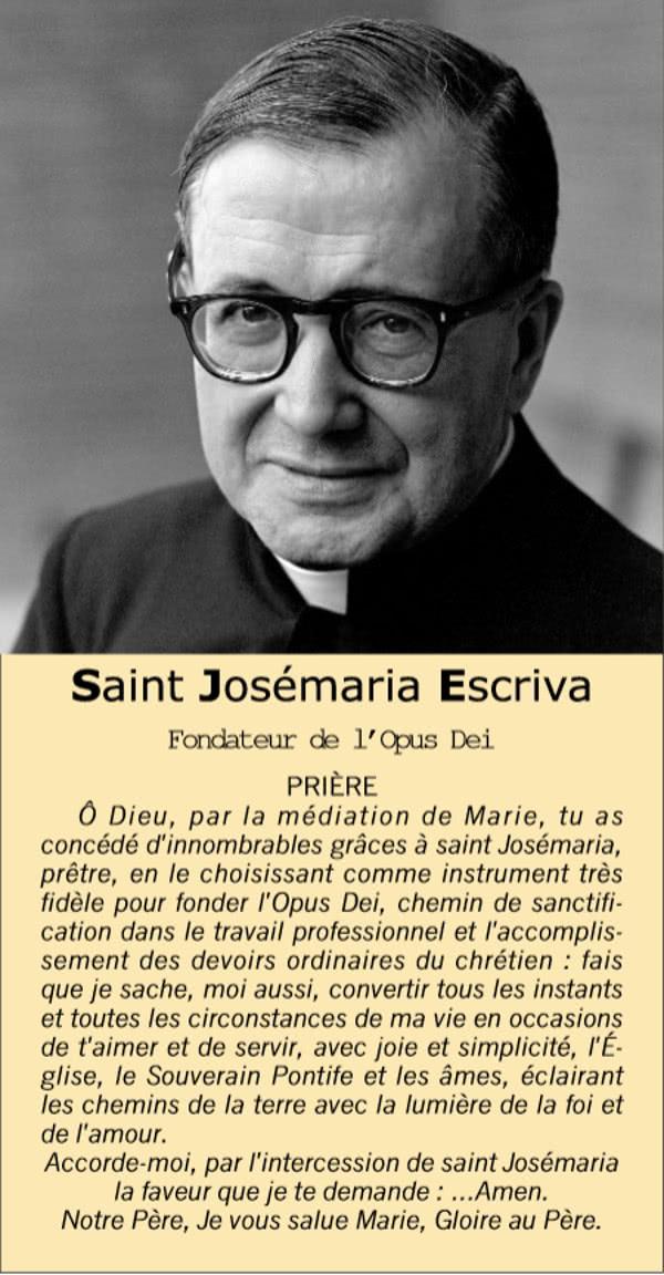 Opus Dei - Prière à Saint Josémaria