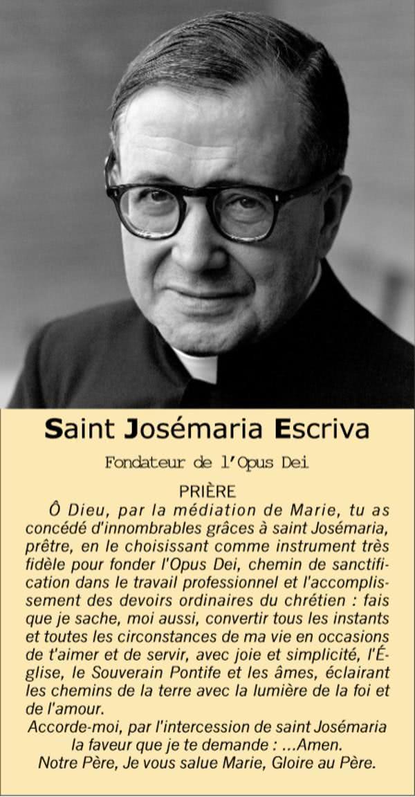 Prière à Saint Josémaria