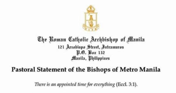 Pastoral Statement of the Bishops of Metro Manila