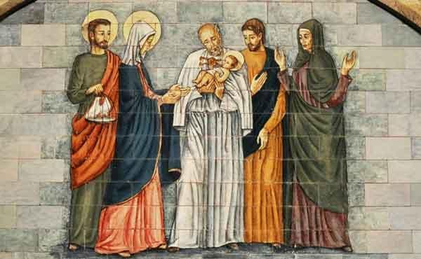 Jezus wordt in de tempel opgedragen