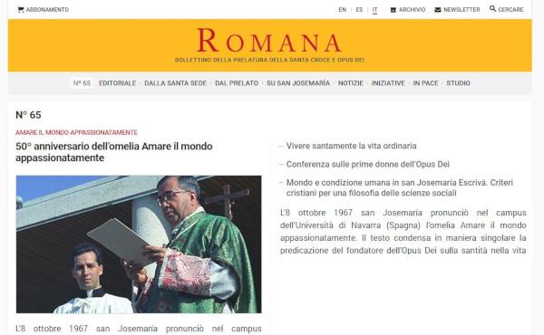 Opus Dei - La publicació Romana estrena website