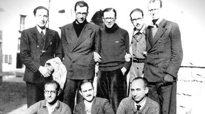 Sant Josepmaria acompanyat pel grup de joves amb els que va arribar a Andorra