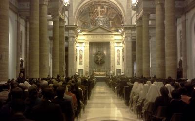 Una imagen de la Misa celebrada ayer en Roma.