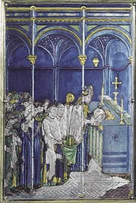 Détail du reliquaire qui contient le corporal avec les gouttes de sang du miracle eucharistique de 1263 à Bolsène. Il se trouve à  la cathédrale d'Orvieto, en Italie.