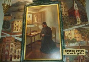 Decoratie in een kapel van de kerk van Onze Lieve Vrouw van de Engelen ter herinnering aan de stichting van het Opus Dei.