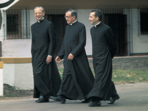 In the garden of La Chacra, St Josemaria with Don Alvaro del Portillo, his first successor (right); and Fr Javier Echevarria, now Prelate of Opus Dei.