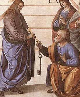 """In ancient times cities were surrounded by high walls. Giving someone the keys to the city meant giving them power over the city. Giving Peter the keys meant giving him supreme power over the Church, which is often called """"the Kingdom of Heaven""""."""