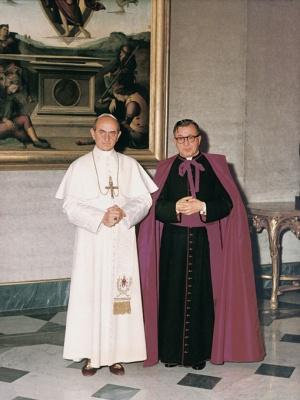 Fotografía tomada durante la audiencia de san Josemaría con Pablo VI el 24 de enero de 1964