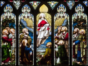 This stained glass window is in St Giles' Cathedral, Edinburgh.