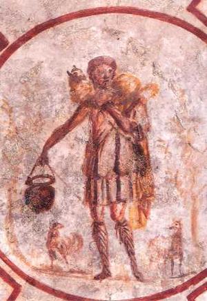 Bild des Guten Hirten (Kalixtus-Katakombe)