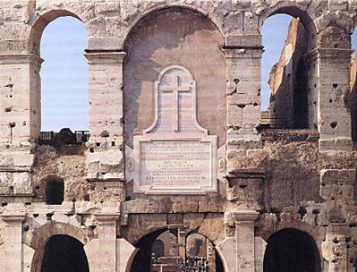 Gedenkstein der Weihe des Kolosseums als einer heiligen Stätte
