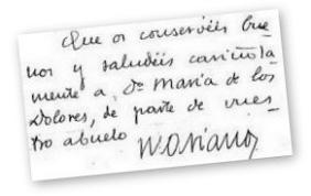 Handgeschriebenes Fragment eines Briefes an Dolores Fisac