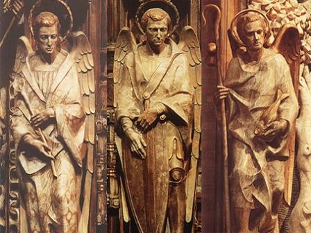 St Michael, St Gabriel and St Raphael, Torreciudad, altarpiece.