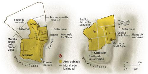 Jérusalem en 70 et la Vieille Ville actuelle. Graphique: J. Gil.
