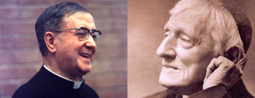 Fotomontagem em que se vê São Josemaria Escrivá (esq.) e o Cardeal John Henry Newman (dta.).