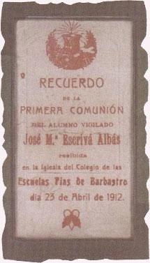 Souvenir de la première Communion de saint Josémaria