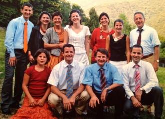 Claudio und Fausta mit ihren neun Kindern, 2005 in Lugano.