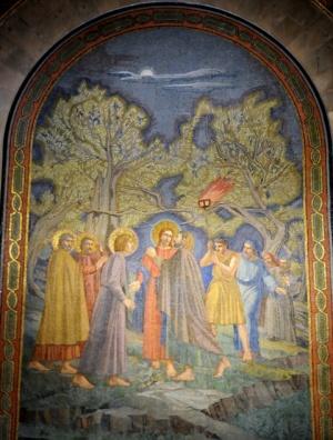 Scène de la trahison de Judas, sur l'abside à gauche. Signé : obard Hinfelaar.