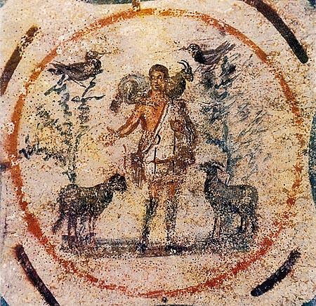 Slika Dobroga Pastira iz Katakombi Priscilla, Rim