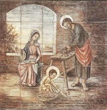 Eine der 14 Szenen, auf Kacheln gemalt, entlang des Pilgerweges zur Wallfahrtskirche von Torreciudad
