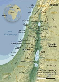 Cartina della Terra santa come la conobbe nostro Signore, con sovrapposti i confini attuali