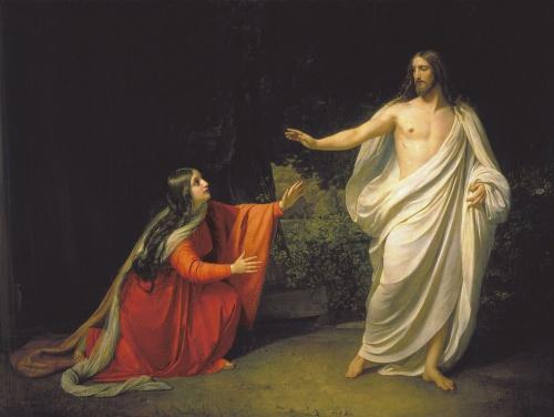 Nach seiner Auferstehung erscheint Jesus Maria von Magdala.  Alexander Andreyevich Ivanov