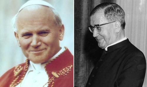Imagens do recém-proclamado beato, João Paulo II, e São Josemaria