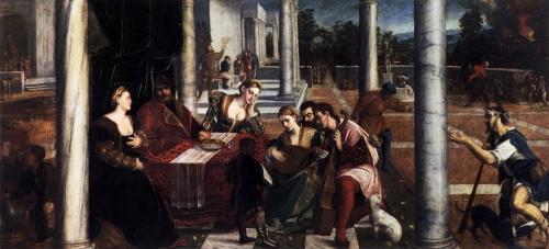 """""""O rico e Lázaro"""" Bonifazio Veronese (1540 ou posterior) Gallerie dell'Accademia, Venecia"""