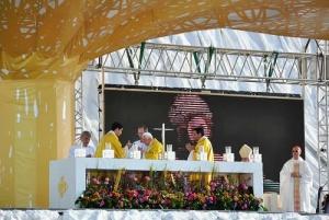 O Santo Padre Bento XVI durante a Missa do Domingo, 21 de Agosto, em Quatro Ventos.<br data-verified=