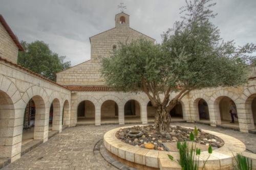Alla Chiesa della Moltiplicazione si accede attraverso un atrio con un portico, al centro del quale si erge un ulivo. Firma: Derek Winterburn (Flickr).