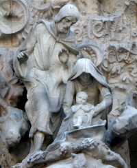 Nativity scene on the facade of the Basilica of the Sagrada Familia in Barcelona