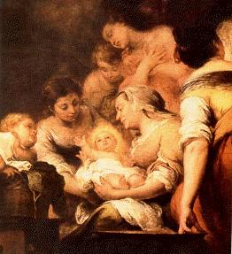 """Ausschnitt aus dem Gemälde von Murillo """"Geburt der Jungfrau Maria"""", von 1660, das sich im Louvre in Paris befindet."""