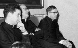 Bp. Javier Echevarría, bp. Álvaro del Portillo i św. Josemaría, w 1969 roku, w Rzymie