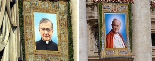 À esquerda, a imagem oficial da canonização de São Josemaria. À direita, a da beatificação de João Paulo II