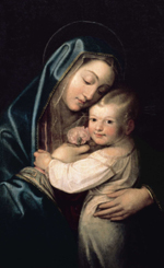 Ce tableau était chez la mère de saint Josémaria. Chez eux, on parlait de « La Vierge à l'Enfant bien coiffé »