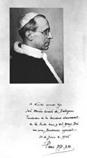 Bénédiction autographe de Pie XII pour Saint Josémaria