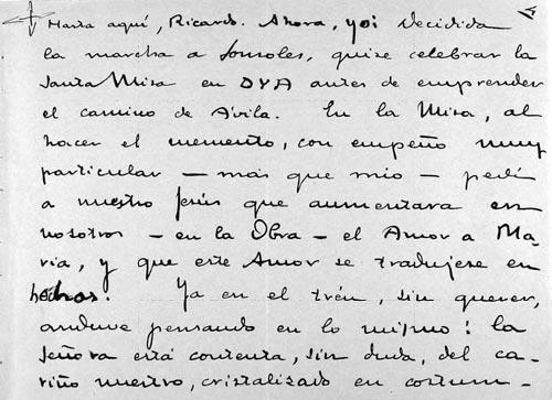 Facsimile des Anfangs vom Bericht, über die Wallfahrt nach Sonsoles, den der hl.  Josemaría Escrivá geschrieben hat
