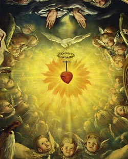 """Alegorie a Preasfintei Inimi a lui Isus"" (detaliu), Federico Laorga, Sanctuarul de la Torreciudad (Huesca, Spania)"
