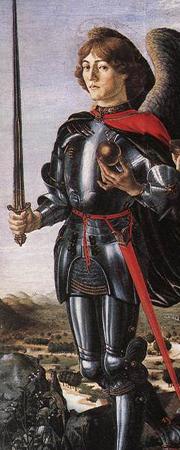 Der Erzengel Michael, Ausschnitt eines Gemäldes in der Galleria degli Uffizi (Florenz)
