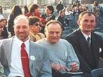 Aexandr Zorin mit Freunden aus Russland auf dem Petersplatz