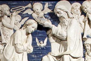 Ausschnitt aus der Krönung Mariens, mit Heiligen, aus dem 15. Jh. Künstler: Andrea della Robbia